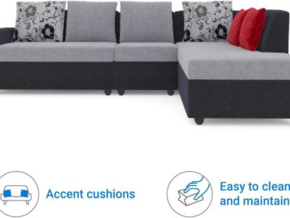 Bharat Lifestyle Nano Fabric 6 Seater Sofa  (Finish Color – Black Grey)