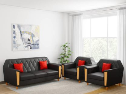 Kurlon Crescent Leatherette 3 + 1 + 1 Black Sofa Set